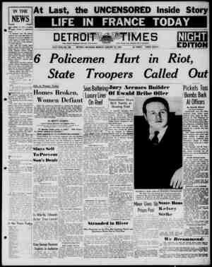 Detroit Evening Times Gazetesi 13 Ocak 1941 kapağı