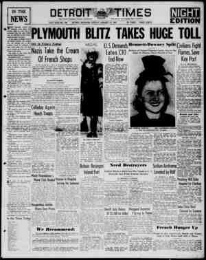 Detroit Evening Times Gazetesi 14 Ocak 1941 kapağı