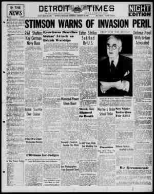 Detroit Evening Times Gazetesi 16 Ocak 1941 kapağı