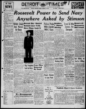 Detroit Evening Times Gazetesi 17 Ocak 1941 kapağı