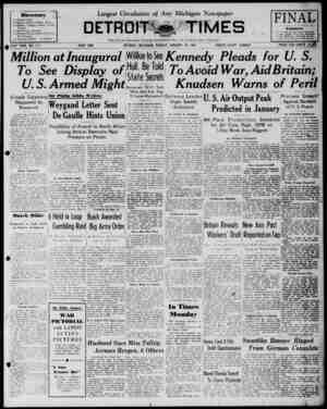 Detroit Evening Times Gazetesi 19 Ocak 1941 kapağı