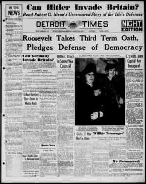 Detroit Evening Times Gazetesi 20 Ocak 1941 kapağı