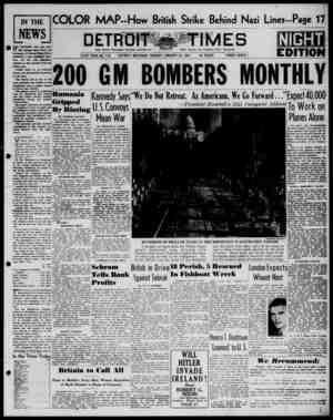 Detroit Evening Times Gazetesi 21 Ocak 1941 kapağı