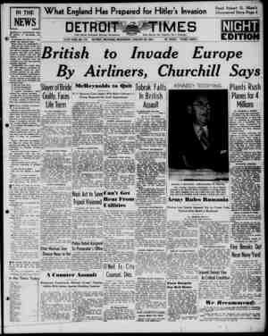 Detroit Evening Times Gazetesi 22 Ocak 1941 kapağı