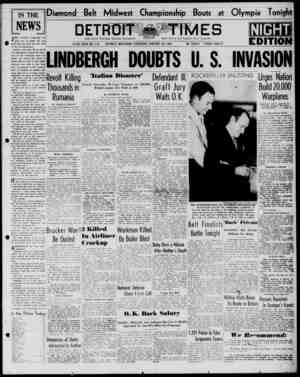 Detroit Evening Times Gazetesi 23 Ocak 1941 kapağı