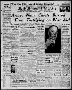 Detroit Evening Times Gazetesi 24 Ocak 1941 kapağı
