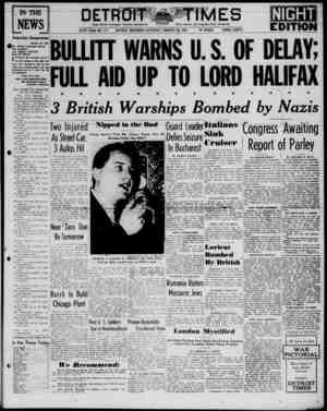 Detroit Evening Times Gazetesi 25 Ocak 1941 kapağı