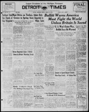 Detroit Evening Times Gazetesi 26 Ocak 1941 kapağı