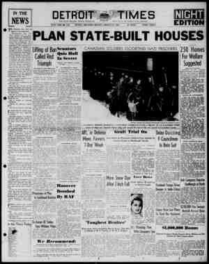 Detroit Evening Times Gazetesi 27 Ocak 1941 kapağı