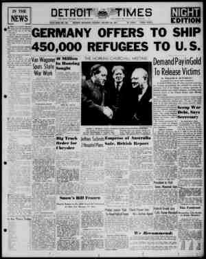Detroit Evening Times Gazetesi 28 Ocak 1941 kapağı