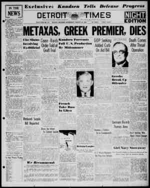 Detroit Evening Times Gazetesi 29 Ocak 1941 kapağı