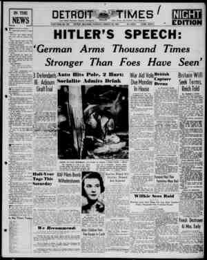 Detroit Evening Times Gazetesi 30 Ocak 1941 kapağı