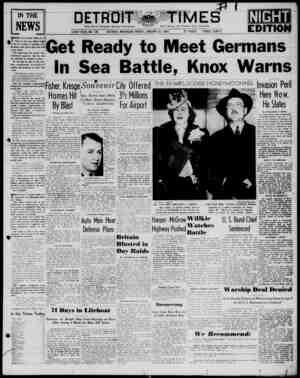 Detroit Evening Times Gazetesi 31 Ocak 1941 kapağı