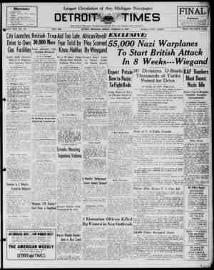 Detroit Evening Times Gazetesi 2 Şubat 1941 kapağı