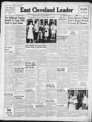 East Cleveland Leader Gazetesi September 3, 1953 kapağı