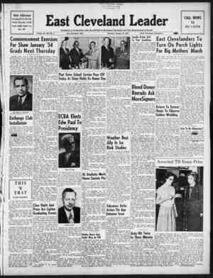 East Cleveland Leader Gazetesi 21 Ocak 1954 kapağı
