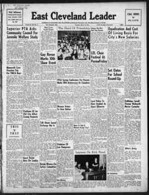 East Cleveland Leader Gazetesi 18 Mart 1954 kapağı