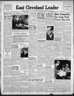 East Cleveland Leader Gazetesi 1 Nisan 1954 kapağı