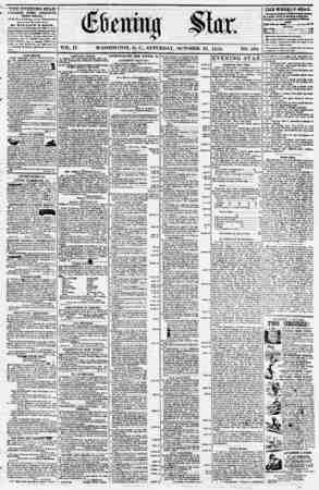 Evening Star Gazetesi 21 Ekim 1854 kapağı