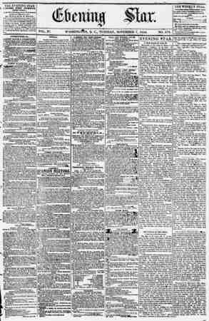 Evening Star Gazetesi 7 Kasım 1854 kapağı