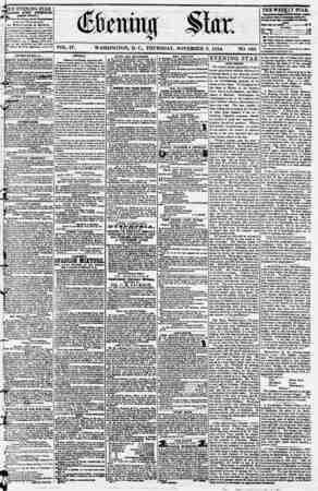 Evening Star Gazetesi 9 Kasım 1854 kapağı