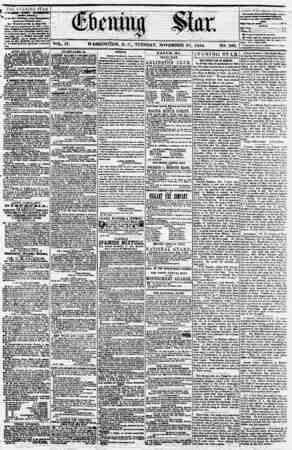 Evening Star Gazetesi 21 Kasım 1854 kapağı