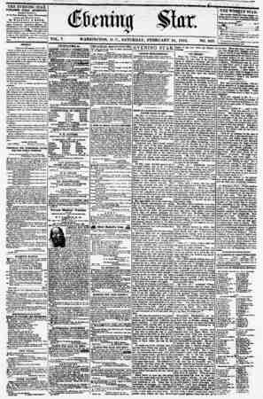 VOL. V. WASHINGTON, D. C., SATURDAY, FEBRUARY 24, 1855. NO. 669. THE EVENING STAR PUBLISHED EVERY AFTERNOON, (EXCEPT SUNDAY.)