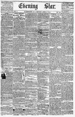 ? i ' i - VOL. V. WASHINGTON, D. C., MONDAY, APRIL 2, 1855. THE EVENING STAR PUBLISHED EVERY AFTERNOON, (EXCEPT SUNDAY.) At