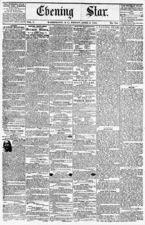 ? . VOL. V. WASHINGTON, D. C., FRIDAY,'APRIL 6, 1855. NO. 704. _ It I the evening star PI BLISDED EVERY AFTERNOON, (EXCEPT