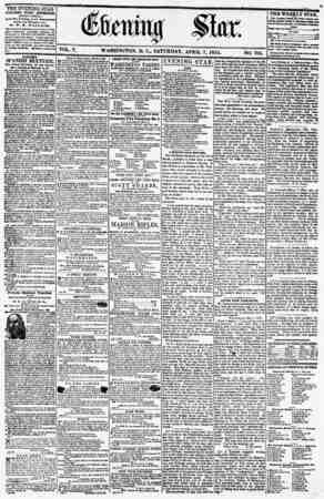 VOL. V. WASHINGTON, D. C? SATURDAY, APRIL 7, 1855. NO. 705. THE EVENING STAR PIBLISIIED EVERY AFTERNOON (EXCEPT SUNDAY.) * At
