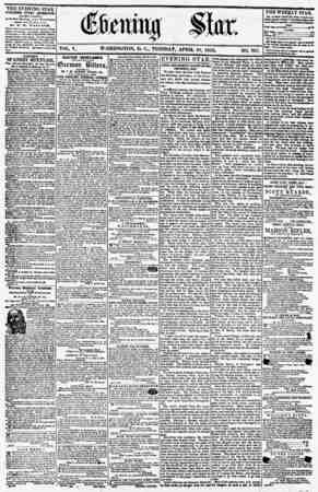 VOL. V WASHINGTON, D. C., TUESDAY, APRIL 10, 1855 NO. 707. THE EVENING STAR PUBLISHED EVERY AFTERNOON, (EXCEPT SUNDAY,) At