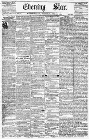 VOL. V. WASHINGTON, D. C., WEDNESDAY, APRIL 11, 1855. NO. 708. THE EVENING STAIi PUBLISHED EVERY AFTERNOON, (EXCEPT SUNDAY,)