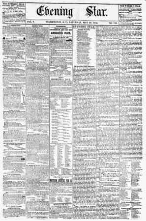 VOL. V. WASHINGTON, D. C., v SATURDAY, MAY 19. 1S55. THE EVENING STAR PI BUSHED EVERY AFTERNOON, _ (EXCEPT SUNDAYJ AX the...