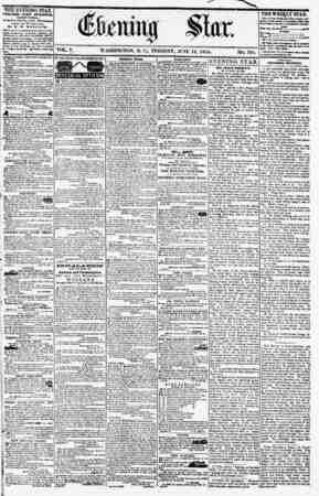 VOL. V. WASHINGTON, D. C., TUESDAY, JUNE 12, 1855. NO. 761. . ' i ?I 1 1 THE EVENING STAR POBLliUED EVERT AFTERNOON, (EXCEPT