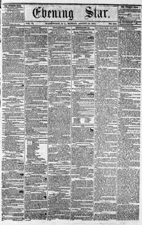 ?? D. C., MONDAY, AUGUST 13, 1855 ? THE EVENING STAR, rt BtllH*? EVERY y.PTEXftOON, (EXCEPT SUNDAY,) ' 4t tk* Star Bntldimgt