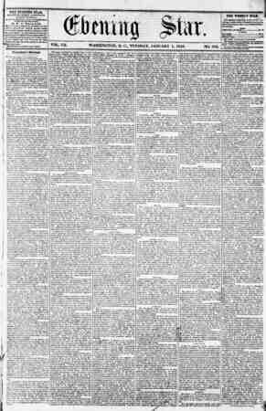VOL. VII. WASHINGTON, D. C., TUESDAY. JANUARY 1, 1856. NO. 933. THE EVENING STAR, riBLISHKD r.VKRT AFTEKNOUN, (EXCEPT...