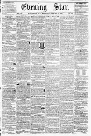 VOL. VII. WASHINGTON, D. C., WEDNESDAY, JANUARY 9, 1856. NO. 910. THE Evening STAB, fl'RLISHEO r.TERY AFTERNOON, (EXCEPT...
