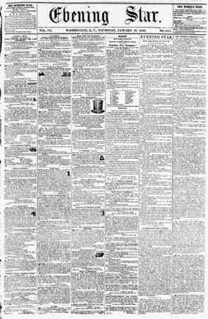1 VOL. VII. WASHINGTON, D. C.. THURSDAY, JANUARY 10, 1856. NO. 911. THE EVENING STAB. riBLISHED EVERY AFTKK.IOON, fEXOEPT...