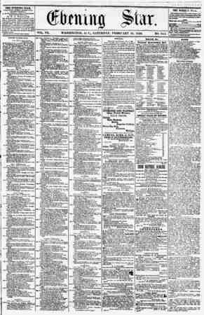 VOL. VII. WASHINGTON, D. C., SATURDAY. FEBRUARY 16, 1856. NO. 943. THE EVENING STAR, fUBLISHED ftCVKRY AKTKKNOON, > (EXCEPT