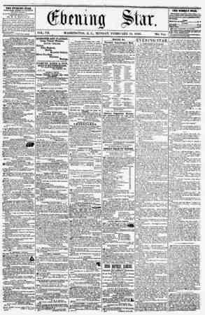 VOL. VII. WASHINGTON, D. C., MONDAY. FEBRUARY 18. 1856. THE EVENING STAB, PUBLISHED EVERT AKTJJKSOOJI, (EXCEPT SO Nil A V.)