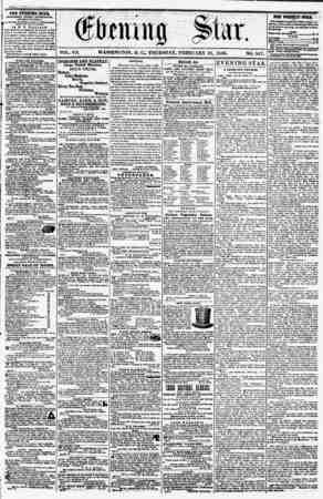 VOL. VII. WASHINGTON, D. C- THURSDAY. FEBRUARY 21, 1856. NO. 947. .? .?.??? . - THE EVENING STAR, PUBLISHED CV?KY miKNUUN,