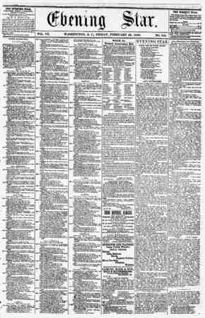 VOL. VII. WASHINGTON. D. C. FRIDAY. FEBRUARY 22, 1856. NO. 948. ??*i THE EVENING STAR PUBLISHED EVERT ArTERHUON, (EXCEPT...