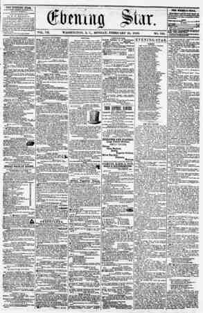 VOL. VII. WASHINGTON, MONDAY. FEBRUARY 25, 1856. NO. 950. THE EVENING STAB, fV ULIKHKU KVEKY ArTKRKUOK, ?EXCrPT SUNDAY,) At