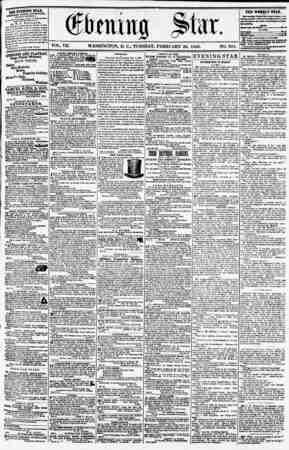 "VOL. VII. WASHINGTON, D. C.. TUESDAY. FEBRUARY 26, 1856. NO. 951. nlJ JVEnNQ STAR, .^HEU KVSRT APTEKNOOI1, *** i ""\CEPT..."