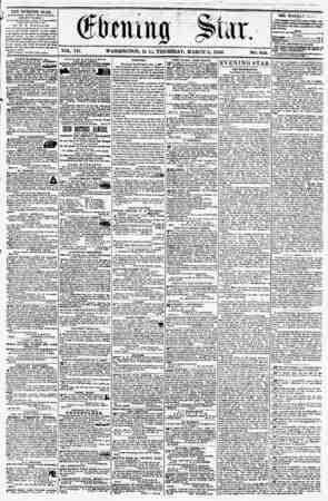 VOL. Vlf. WASHINGTON, D. Cm THURSDAY. MARCH 6, 1856. NO. 959. I T3E EVENING STAK, riULIilUED EVEltV AVT Kil*UOIt, (KXCKPT...