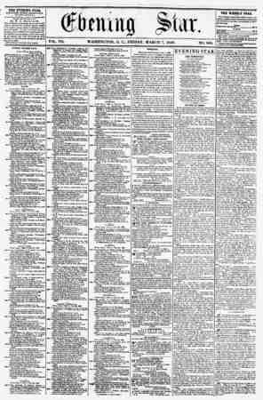 VOL. VII. WASHINGTON, D. C.. FRIDAY. MARCH 7, 1856. NO. 960. THE EVENING STAR, rCBLIIHEO KVEKY APTEKNOON, (EXCEPT SUNDAY,) if