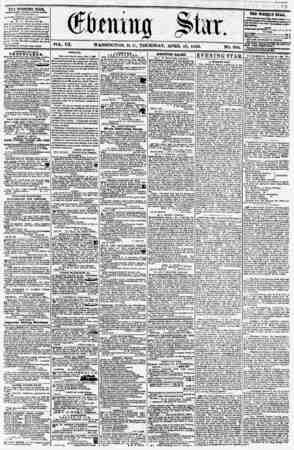 . _ s.. ?itt pill ? i' _ ?? VOL. Vn. WASHINGTON, D. ?., THURSDAY. APRIL 10, 1856. NO. 990. THE EVENING STAB, fUBLIKHKD EVERY