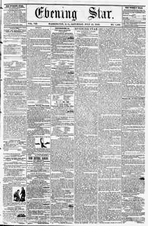 VOL. VIII. WASHINGTON, D. C? SATURDAY, JULY 12, 1856. NO. 1,069. the evening star, rCBLISHKD EVERY AFTERNOON, (EXCEPT...