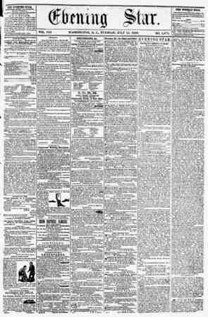 VOL. VIII WASHINGTON, D. C., TUESDAY, JULY 15, 1856. NO. 1,071. _______ . XHE EVENING STAR, .cbliihed ktkrt ArrEHiioua, r...