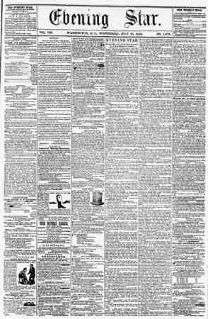 VOL. VIII WASHINGTON, D. C., WEDNESDAY, JULY 16, 1856. NO. 1,072. THE EVENING STAB, fCBLFSHKO KVCRT AKfKilPIOOJI, (EXCEPT...